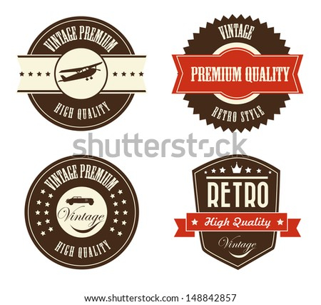 retro labels over white background vector illustration