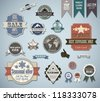 Retro labels set. Vector vintage elements for cool design. - stock vector