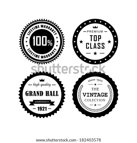 Retro labels, top class,vintage, grand hall - stock vector
