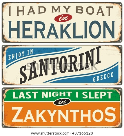 Retro labels with towns in Greece. Vintage signs collection. Travel theme. - stock vector