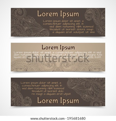 Retro lacework ornamental banners horizontal set  isolated vector illustration
