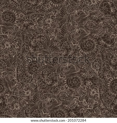 Retro lacework ornamental seamless pattern on dark background vector illustration