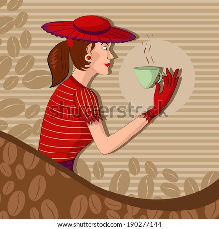 Retro lady with coffee mug in vector illustration - stock vector