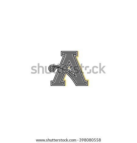 Retro letter logo, typography monogram wedding invitation initial, mockup business card vintage emblem design element - stock vector