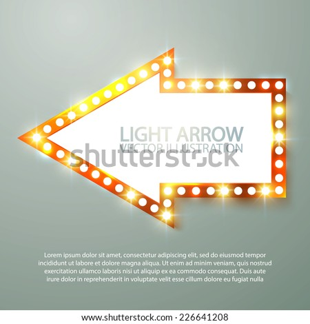 Retro light arrow. Vector illustration  - stock vector