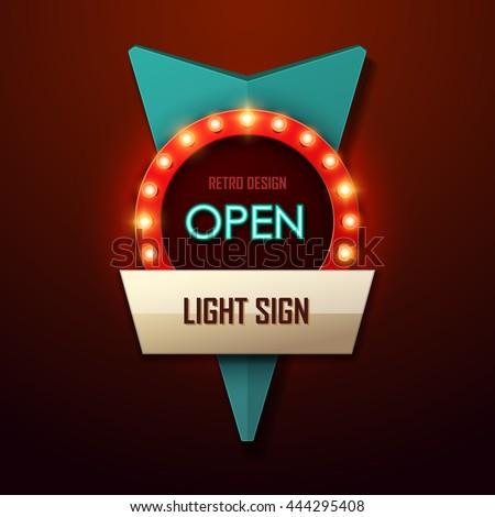 Retro light sign. Vintage style banner. Vector illustration. - stock vector