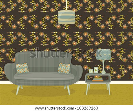 retro living room with sofa, side table and lamp, with floral wallpaper - stock vector
