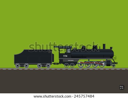 Retro locomotive by rail vector illustration - stock vector
