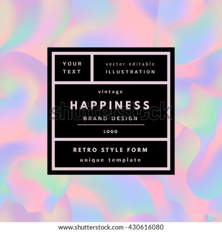 Retro Logo Frame On Holographic Background Stock Vector (2018 ...