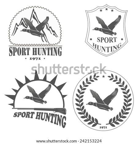 retro logos sport hunting for ducks - stock vector