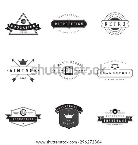 Retro Logotypes vector set. Vintage graphics design elements for logos, identity, labels, badges, ribbons, arrows and other objects.  - stock vector