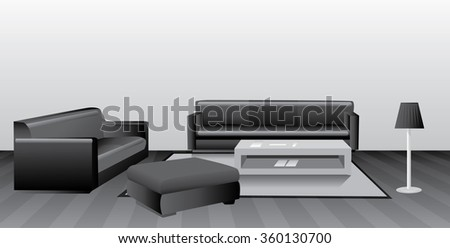 Retro look - Illustration Black and white room  - stock vector