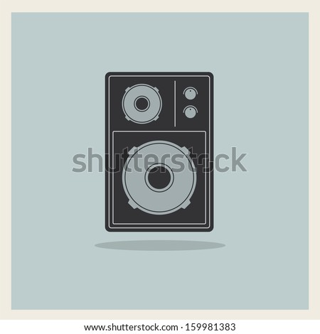 Retro Loudspeaker on blue background, vector