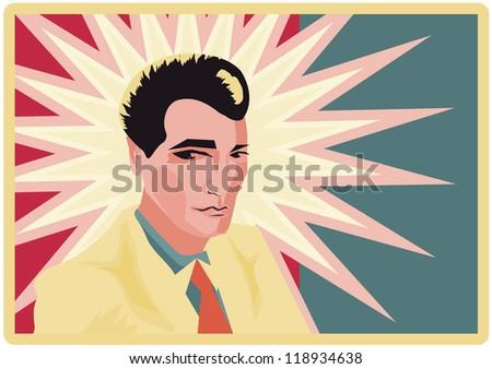 Retro Man Businessman poster Pop Art Man background - stock vector