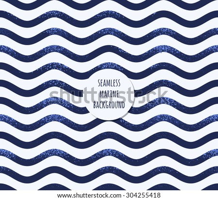 Retro marine background. Grunge striped vest seamless pattern. Sea waves, curved stripes - stock vector