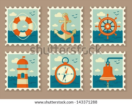 retro marine stamps - stock vector