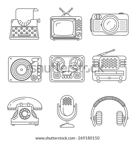 Retro media devices icons in thin line style. Microphone and radio, typewriter and phonograph, headphones and television, vector illustration - stock vector