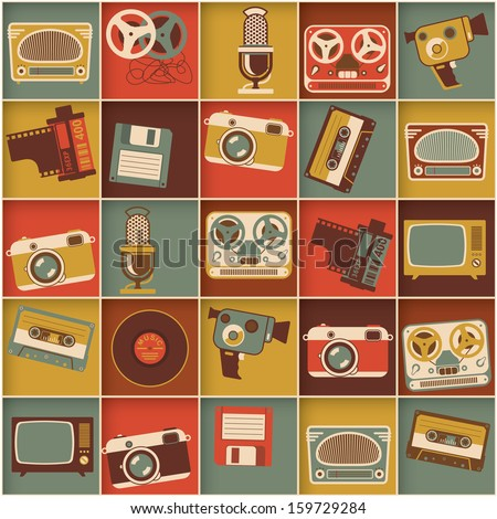 Retro media hipster style pattern. Vector background. - stock vector