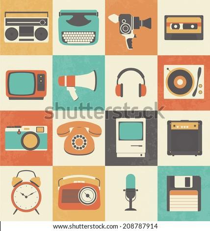 Retro Media Icon Set - stock vector