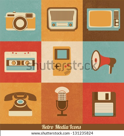 Retro Media Icons - stock vector