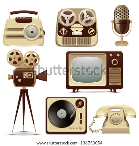Retro Media icons - stock vector