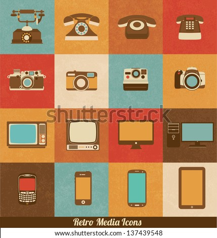 Retro Media Icons of Phones Cameras Televisions and Smart Devices - stock vector
