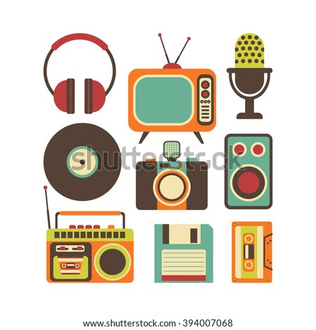 Retro Media technology, flat icons set, vector illustration of tv, photo camera, cassette, radio tape recorder, microphone, diskette, headphones