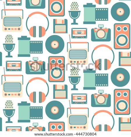 Retro Media technology Seamless Pattern, flat icons set of radio, photo camera, film strip, cassette, tape recorder,  microphone
