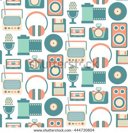 Retro Media technology Seamless Pattern, flat icons set of radio, photo camera, film strip, cassette, tape recorder,  microphone - stock vector