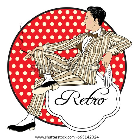Retro men`s set: vector pretty style fashion man. Beautiful vintage emblem isolated. 1920s, people, fashion, retro, party, Chicago. Prints, posters, logo, icons, textile, t-shirts.