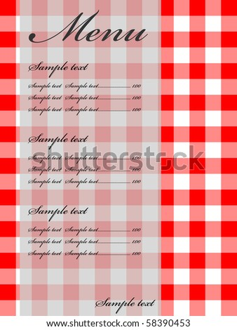 retro menu card - stock vector
