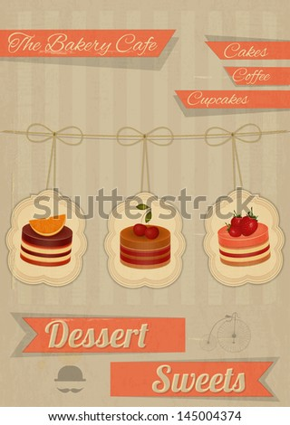 Retro Menu for the Cafe, Pastry Shop, Confectionery - Strawberry, chocolate and cherry Cake  - vector illustration