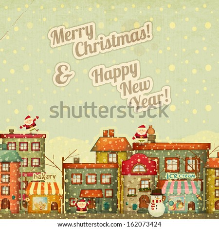 Retro Merry Christmas and New Years Card with Santa Claus and Snowman on a Vintage background winter Town. Vector illustration. - stock vector
