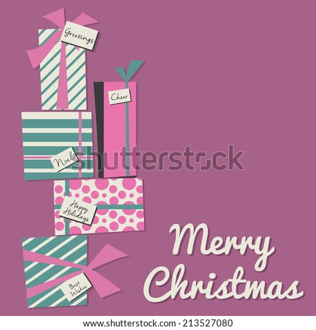 Retro Merry Christmas Greeting with Stack of Presents - stock vector
