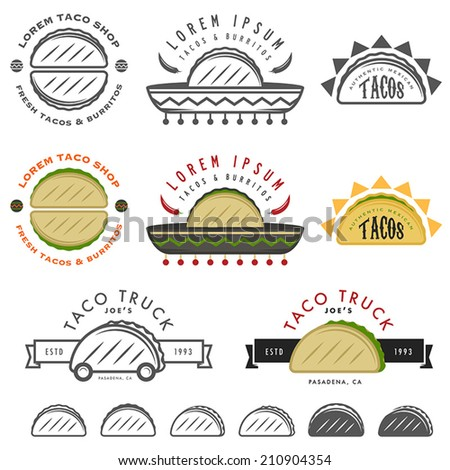 Retro Mexican taco design elements - stock vector