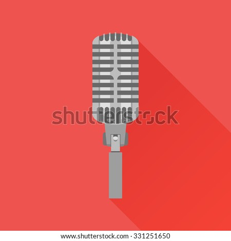 Retro microphone flat icon