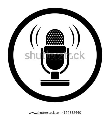 retro microphone icon - stock vector