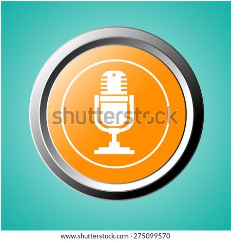 Retro microphone icon on orange button - stock vector