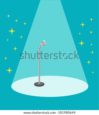 Retro Microphone on stage and on spotlight. EPS10 vector illustration. - stock vector