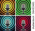 Retro microphone on the background of divergent waves. Vector set. - stock vector