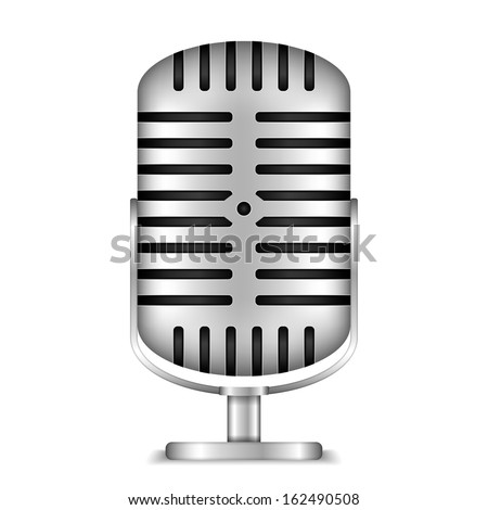 Retro microphone on white background, vector eps10 illustration