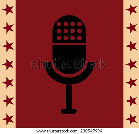 Retro microphone vector icon at red background - stock vector