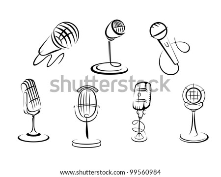 Retro microphones sketches set for art and musical design. Jpeg version also available in gallery - stock vector