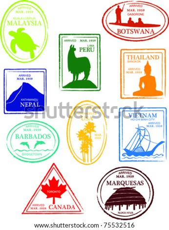 Retro Miscellaneous World Set of Fun Country Passport Stamps Vector Illustration - stock vector