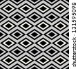 Retro monochrome argyle background, black and white seamless pattern, geometric fabric for design  - stock vector