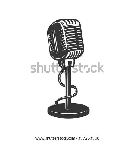 Retro monochrome microphone icon. Old microphone illustration. Vintage microphone isolated on white background. - stock vector