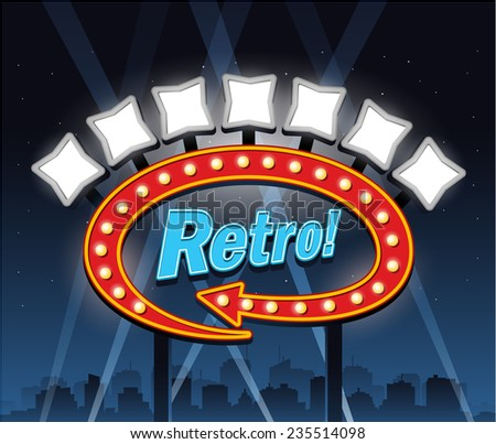 Retro motel hotel banner sign ad, party city at night - stock vector