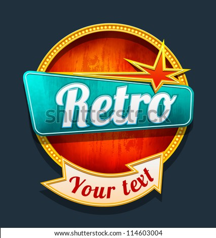 Retro motel sign. Vector - stock vector