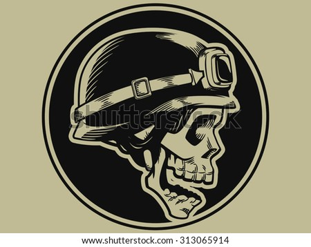 Retro Motorbike Skull Biker Badge