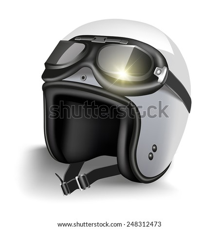 Retro motorcycle helmet with goggles. Isolated on white. Vector illustration